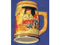 "BEER STEIN, small size novelty, bright & colourful raised figures & buildings, 4"" high, vgc,"