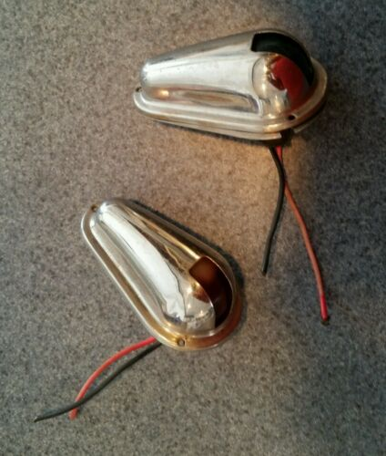 Stainless steel side mount Navigation Lights -USED- FREE SHIPPING IN USA