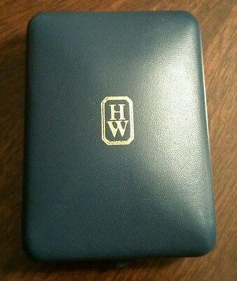 HARRY WINSTON Blue Leather Necklace Jewelry Box Empty