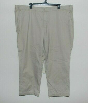 Nautica Big Men's Dress Pants Size 52x30 Khaki Flat Front Chinos Nice