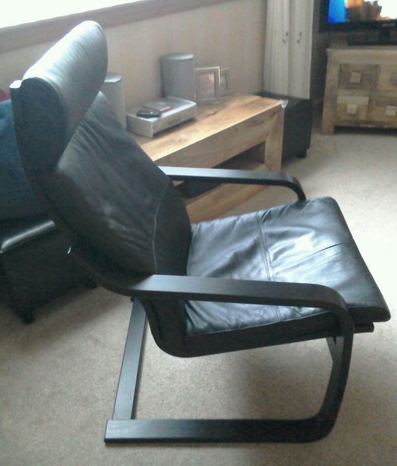 Ikea Poang Chair Gumtree Edinburgh ~ IKEA poang black leather armchair