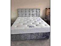 👑Divan Crushed Velvet 5ft King Size Beds Optional👑