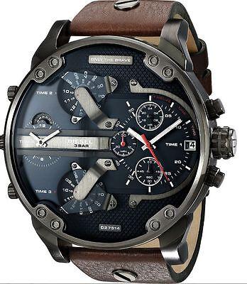 New Diesel DZ7314 Mr. Daddy 2.0 Brown Leather Strap Chronograph Quartz Watch 30M