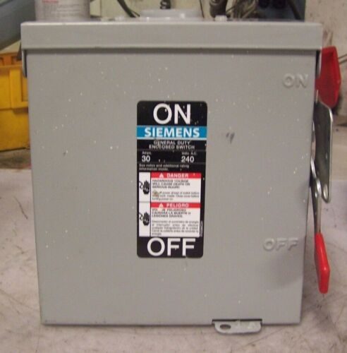 NEW SIEMENS 30 AMP NON-FUSED SAFETY SWITCH 240 VAC 7-1/2 HP 3 PHASE  GNF321R