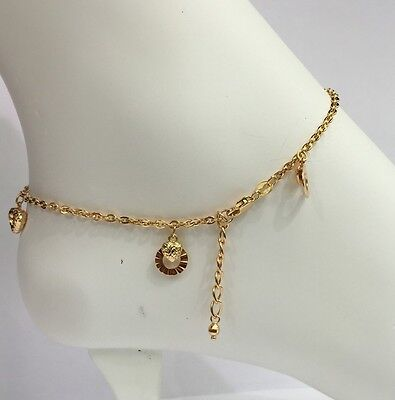 18k Solid Yellow Gold Cute Mix Charms Italy Anklets ,9 Inches, 3.53 grams