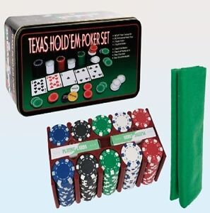 TEXAS HOLD'EM POKER SET CHIPS PROFFESSIONAL CASINO GAME CARDS METAL BOX 842892