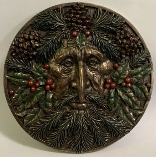 """Green Man Fall Round Wall Plaque 5.25"""" Season Horned God Greenman Wiccan"""