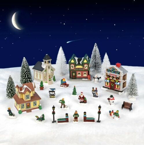 2019 Cobblestone Corners 28-Pieces Christmas Village Collection New in a box