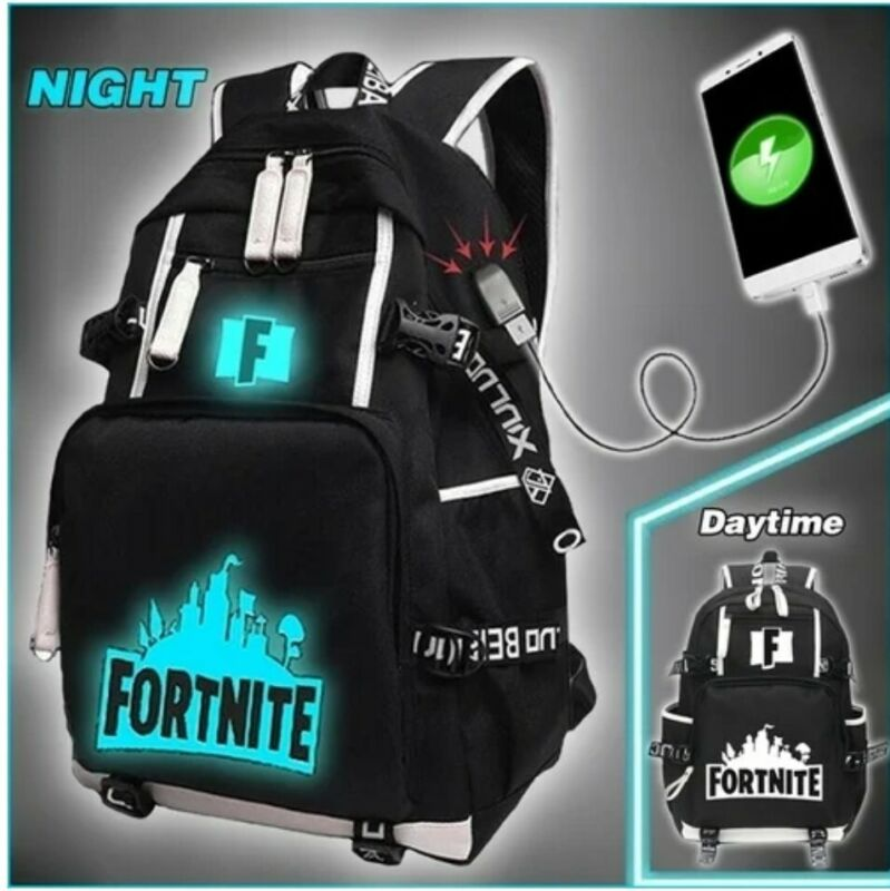 Fortnite backpack school with USB Charger - Style 2