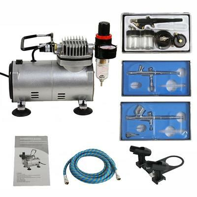 (Airbrush Kit with 3 Guns - Gravity Siphon Feed Air Compressor Crafts Hobby Art)