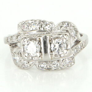 antique art deco 14 karat white gold diamond cocktail ring