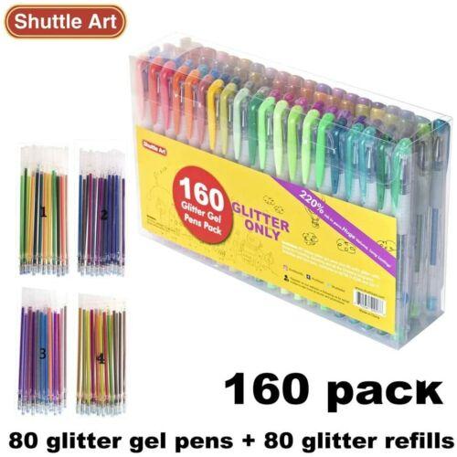 160 Pack Glitter Gel Pens Set, Shuttle Art