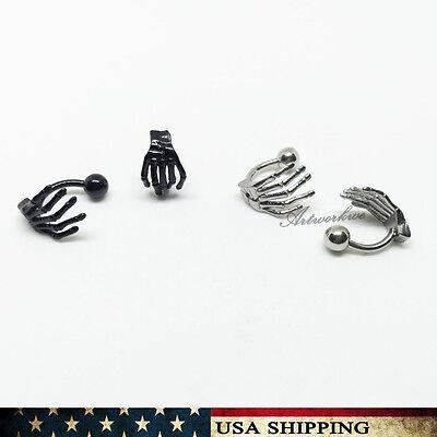 Punk Gothic Skeleton Bone Hand Men Unisex Stainless Steel Ear Stud Earrings - Punk Skeleton