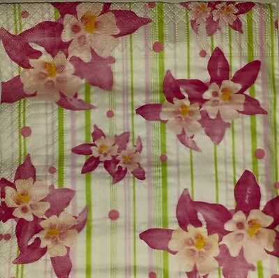 4 x Single Paper Napkins  Pink Flowers  for DECOUPAGE and CRAFT-1