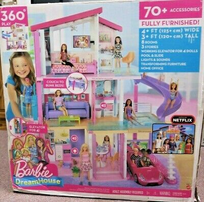 Barbie DreamHouse Doll House Playset w/ 70+ Toys/Accessories FHY73 New Open Box