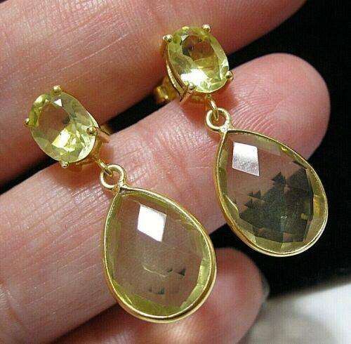 Edwardian Style Sterling Silver Golden Yellow Topaz 11.93 cts Drop EARRINGS