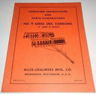 Allis Chalmers No.9 Series Disc Harrow Operators Parts Manual Ac Original