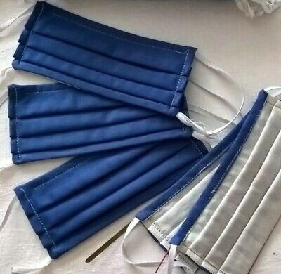 Behelfs Mundschutz Maske Baumwolle Satin 2 lagig luftig atmungsaktiv Blau Uni