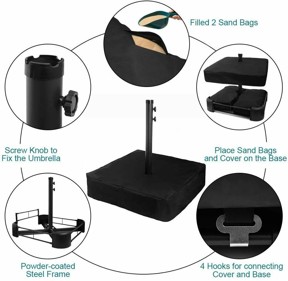 USspous Heavy Duty Umbrella Base Up To 176lbs Outdoor Umbrella Stand Steel Frame - $159.99