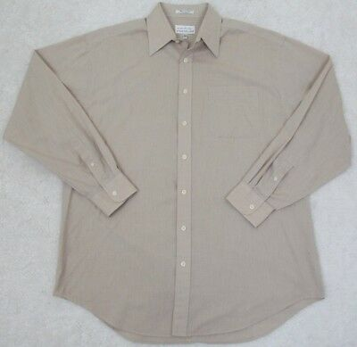 Wardrobe Essentials Dress Shirt 17 36 37 Beige Solid Poly Cotton Pocket Xl Tall