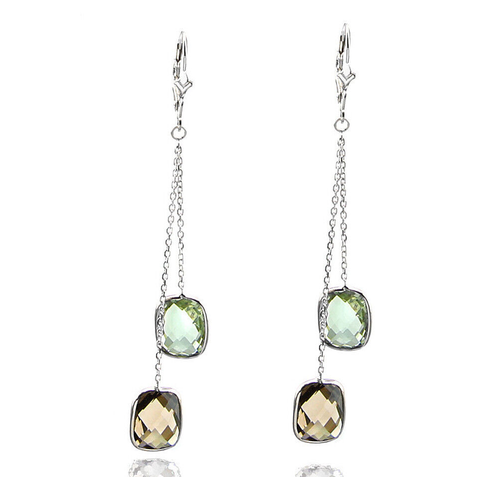 14k white gold dangle earrings with smoky topaz and green. Black Bedroom Furniture Sets. Home Design Ideas