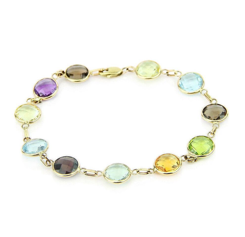 14K Yellow Gold Round Gemstone Bracelet 7.5 Inches