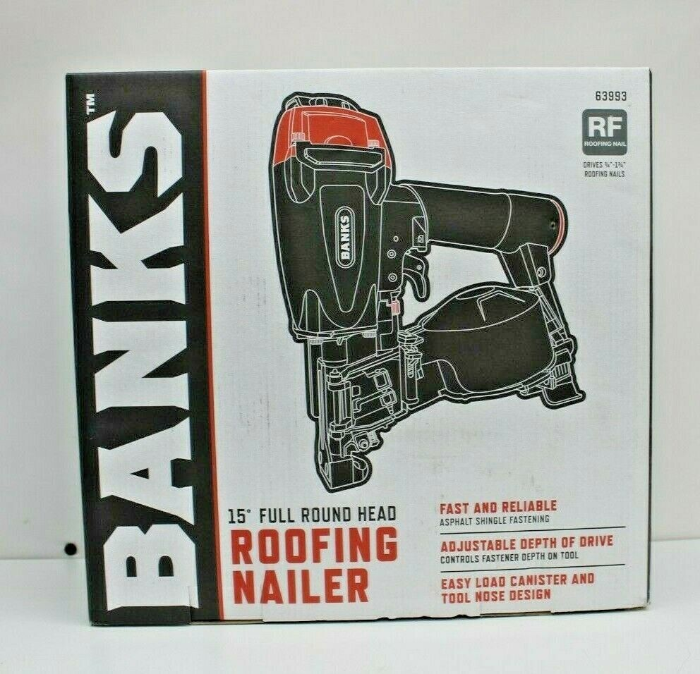 Banks 15° Full Round Head Roofing Nailer #63993 NEW