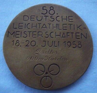 Orig.Medaille  3.Platz   Deutsche Leichathletik Meisterschaft 1958 - 400m Hürden