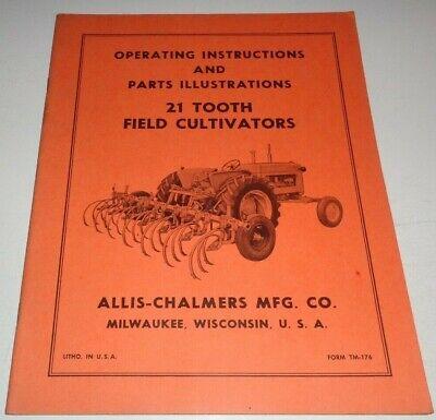 Allis Chalmers 21 Tooth Field Cultivator Operators Parts Manual Ac Original