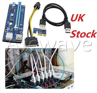 PCI-E 1x to 16x Powered USB3.0 GPU Extender Riser Adapter Card 6PIN Bitcoin UK