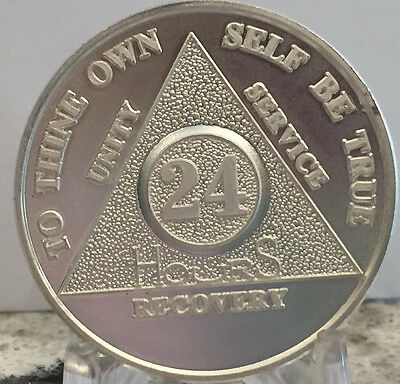 24 Hours .999 Silver AA Alcoholics Anonymous Medallion Sobriety Chip Coin Hour
