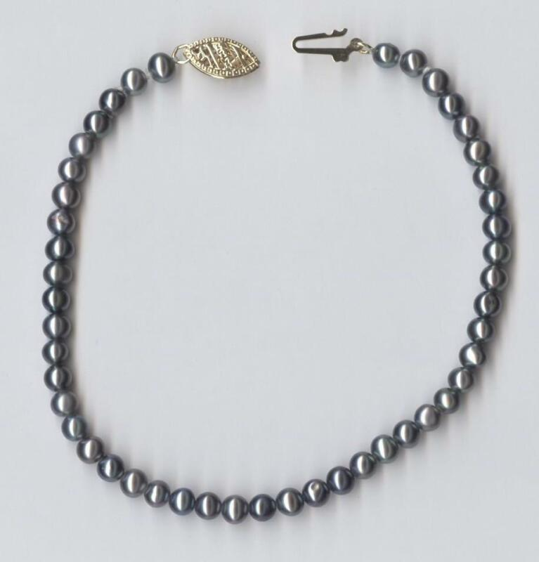 """New 14K 4.64 Gram Solid Yellow Gold 7.75"""" Gray Peacock Pearl Strand Bracelet pS"""