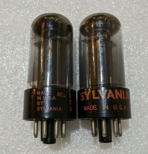 Matched Pair Sylvania 6V6GT Tubes NOS-Testing Gray Glass Black Plate Silver Tops