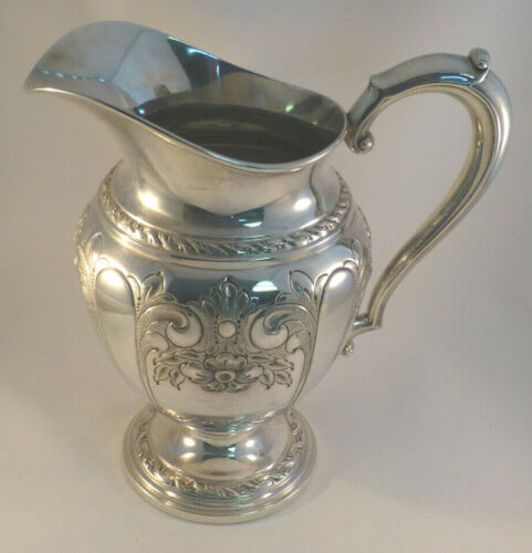 Great Hand Chased Amston Sterling Water Pitcher 3 3/4 Pint