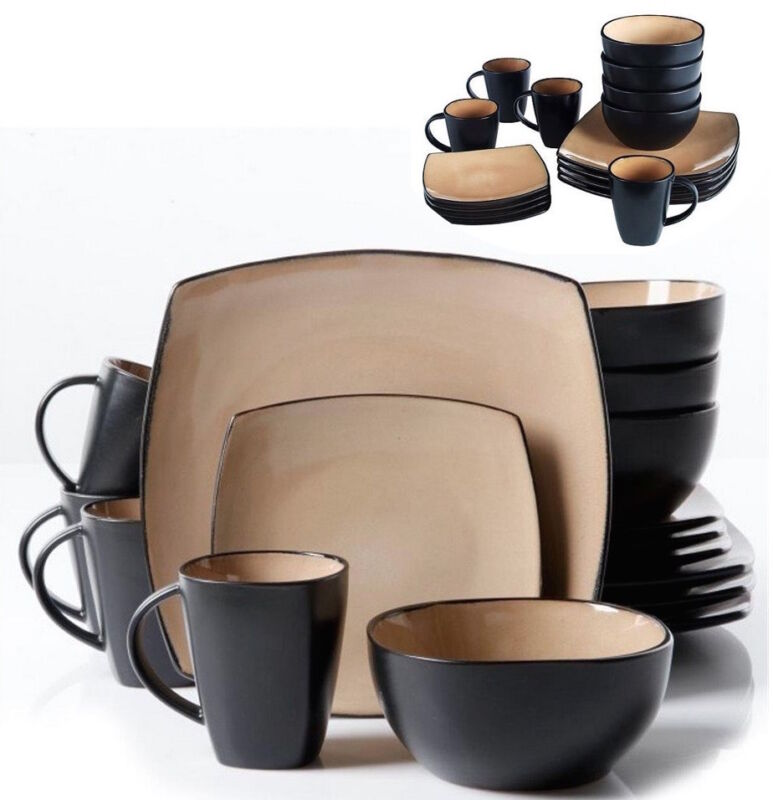 Square Plate Set Dinnerware Dining Dishes Bowls Mugs Piece 32 Place 8 Tan Black