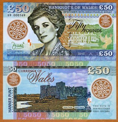Wales (Great Britain), 50 Pounds, 2017, Private Issue, Polymer, Princes Diana
