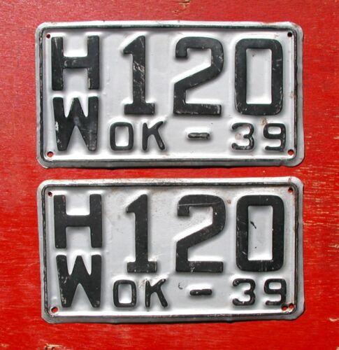 1939 Oklahoma Nice Original PAIR H/W 120 License Plates