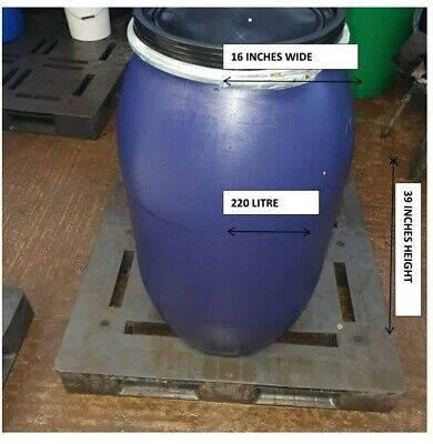 2x 220 Litre Barrels with lid and clamp allotments, storage, shipping