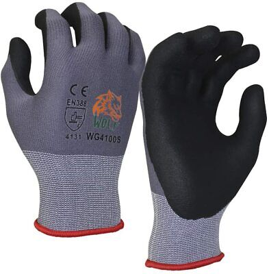 Wolf Work Glove Ultra-thin Nitrile Foam Grip Palm Coated Nylon Shell 3 Pairs
