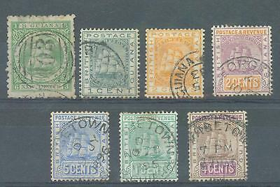 British Guiana 1866-1905 sg.103, 170-1, 194, 214, 233 used