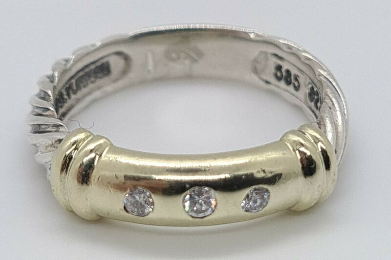 David Yurman  Metro Cable 3 Diamond Ring  14k Gold & Sterling Silver  Size 6