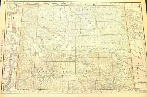 LARGE Map of The Bozeman Trail and The Wyoming Territory 1895. RARE. OLD WEST
