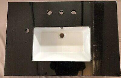 "36"" Vanity top Granite Black With Cast Iron Sink"