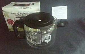 UNIVERSAL COFFEE POT REPLACEMENT CARAFE 12 CUP  w/ adapter lid Model GL220  NIB