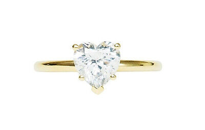 1.0CT BRILLIANT HEART SHAPED CUT SOLITAIRE ENGAGEMENT RING REAL 14K Yellow GOLD