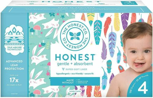 The Honest Company Diapers, Painted Feathers & Bunnies, Size 4, 120 Count