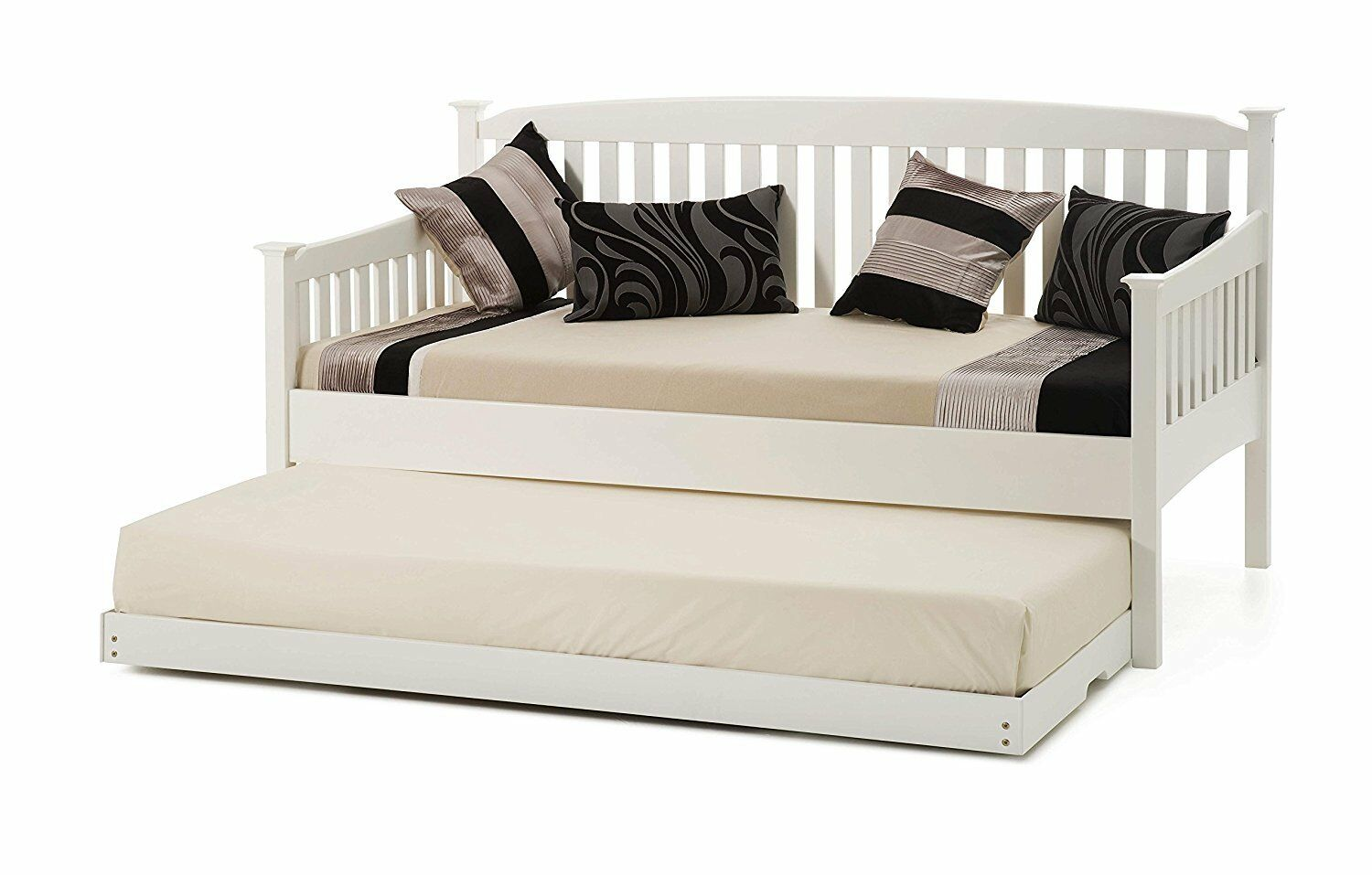 WHITE SHAKER STYLE 3FT SINGLE WOOD DAYBED WITH UNDER DAY BED GUEST TRUNDLE