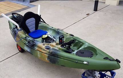 Complete fishing kayak w/ sounder, rod holder extensions, trolley