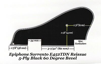 Sorrento E452TDN 5-Ply Blk Mini-HB Pickguard & Bracket for Epiphone Project, used for sale  Shipping to Canada