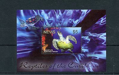 NEVIS 2004 MNH REPTILES OF CARIBBEAN 1V S/S TURTLES HAWKSBILL TURTLE STAMPS